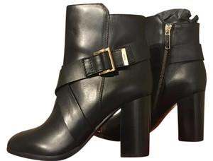 Hugo Boss Class Heel Gold Tone Hardware Crisscross Strap Never Worn Brand New Black Boots