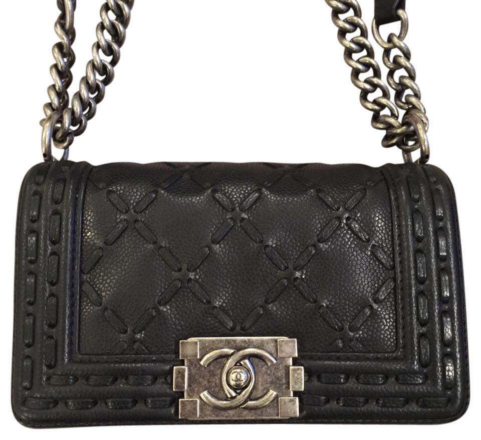 61c181e01903 Chanel Wallet on Chain Boy Small Rare Quilted Stitch Flap 2014 Paris Dallas  14a A94734 Shoulder Woc Black Leather Cross Body Bag