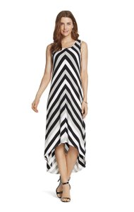 black white Maxi Dress by Chico's Maxi Striped L 12 14