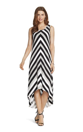 Durable Modeling Chicos Black White New Mitered Striped Maxi Maxi