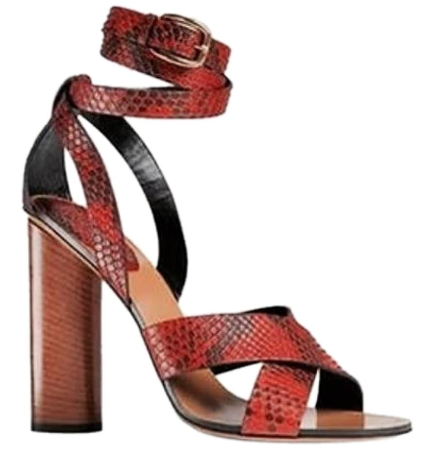 59a1e70128f7 Gucci Multi-color Women s Python Snakeskin Stacked Heel Strappy Sandals