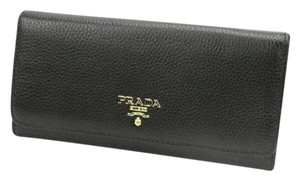 Prada Prada Pebble Leather Black Wallet