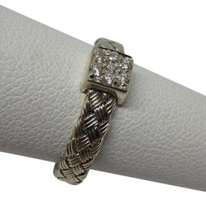 Roberto Coin Diamond 18K White Gold Woven Ring size 5