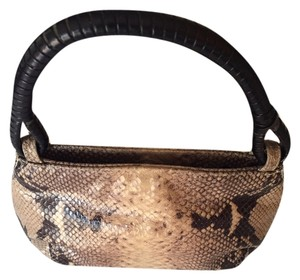 Frenchy of California Satchel in Snakeskin brown black and taupe
