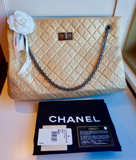 Chanel 2.55 Calfskin Reissue Tote in Light Gold / Champagne
