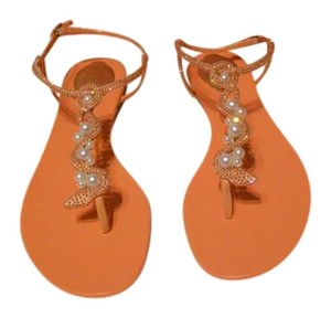 Rene Caovilla Swarovski Crystals Elegant Orange Sandals