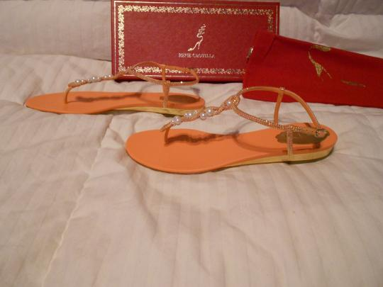 Rene Caovilla Swarovski Crystals Elegant Fabulous Design Made In Italy Orange Sandals