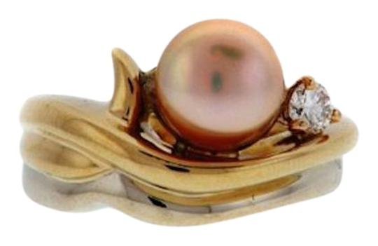 Wayne B Light 18K Gold, Champagne pearl, White diamonds Ring w Appraisal $3050