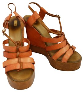 Chloé Orange Wedges Platforms