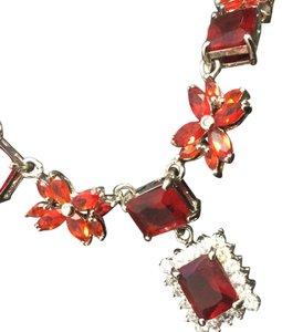 Other Red Brilliant Emerald Cut Stoned Necklace