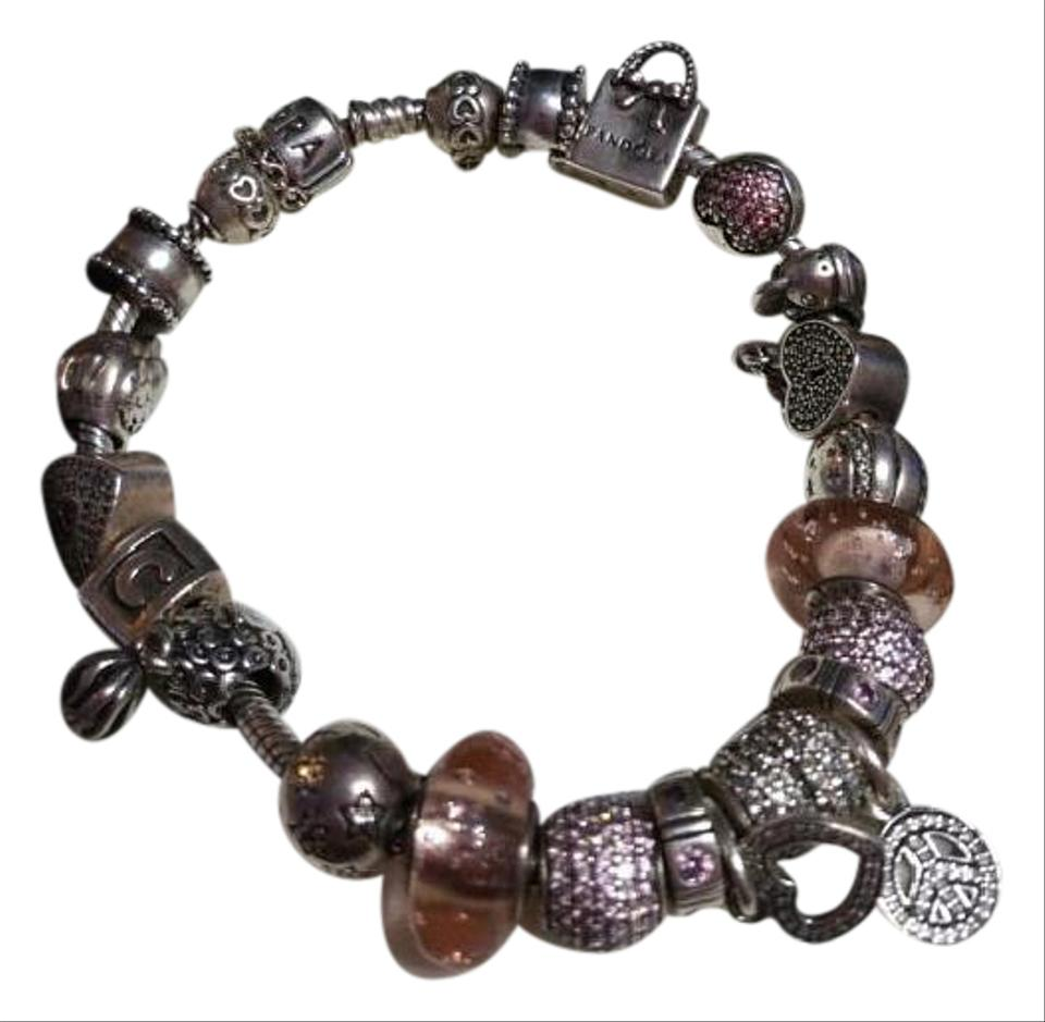 Pandora silver all pieces 20 charms full bracelet tradesy for How much does pandora jewelry pay