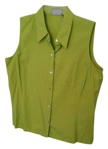 Liz Claiborne Sleeveless Button Down Shirt Lime Green