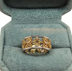14k two tone diamond wedding band