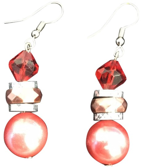Swarovski Elements Red Mauve Pink Swarovski Pearl And Crystal Earrings