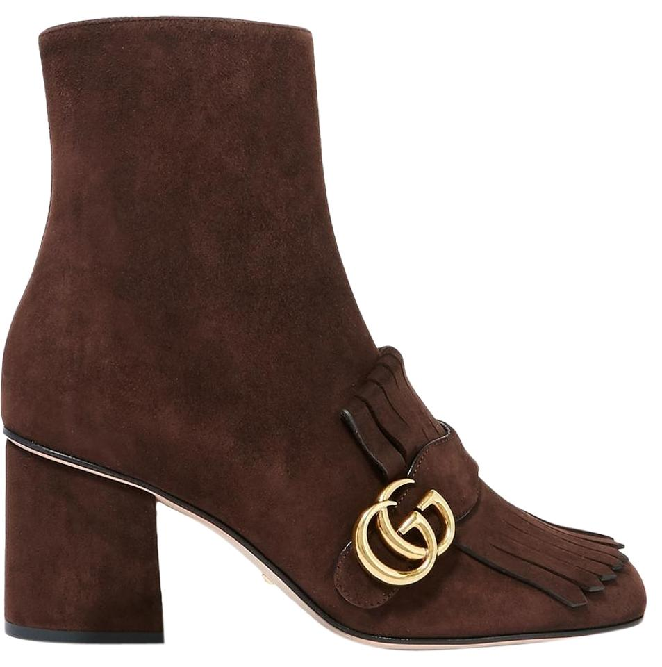 7a9fe2b5b Gucci Brown Marmont Gg Fringed Suede Ankle Boots/Booties Size US 8 ...