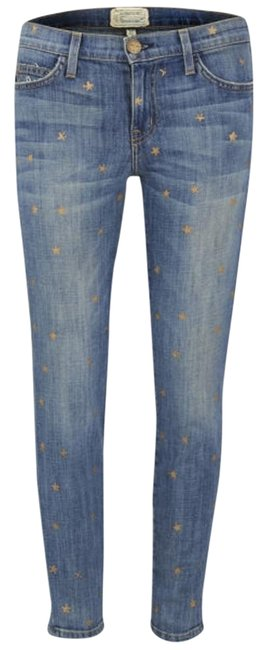 Item - Saratoga Blue / Cosmic Gold Star Medium Wash The Stiletto Skinny Jeans Size 27 (4, S)