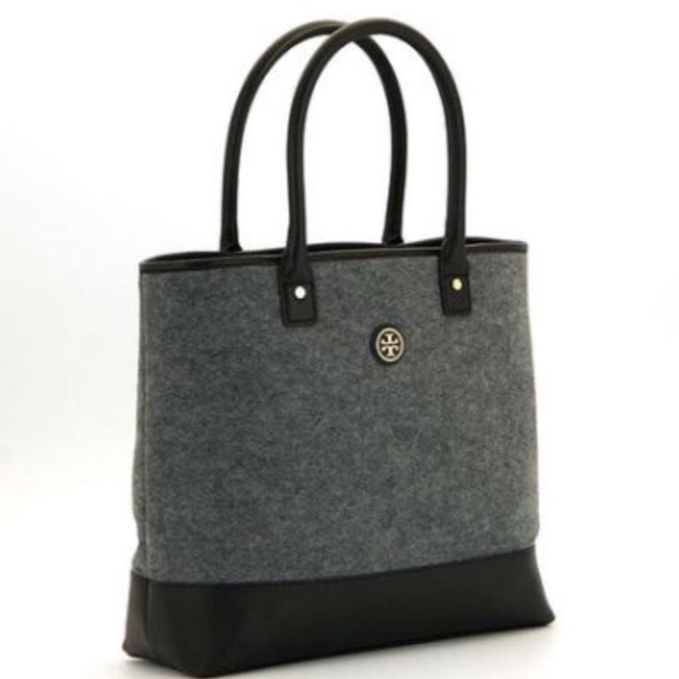 9626d270fb4a Tory Burch Jaden Gray Wool Flannel Leather Tote - Tradesy