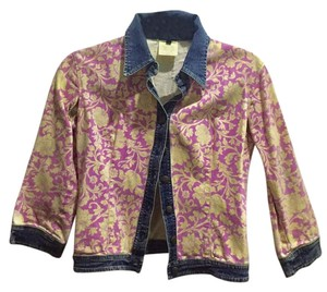 Just Cavalli Blue/pink/yellow Womens Jean Jacket
