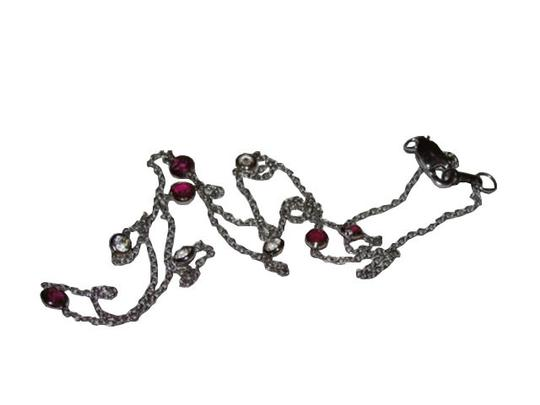 alberto juan Alberto Juan 14 kt White Gold Ruby and White Sapphire Necklace