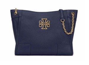 Tory Burch Leather Tote in Royal Navy