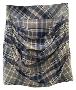Karen Millen Plaid Preppy Tartan Ruched Checkered Mini Skirt Blue