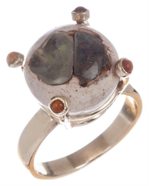 Unbranded Yellow/Multi 14 Kt Gold Mexican Opal Cabochon Ring Unbranded Yellow/Multi 14 Kt Gold Mexican Opal Cabochon Ring Image 1