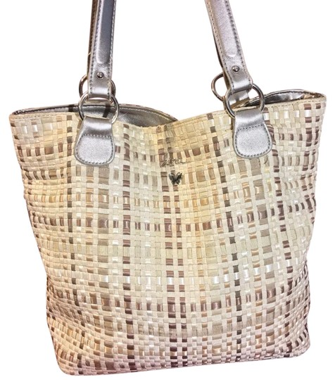 Preload https://img-static.tradesy.com/item/20196350/lina-woven-medium-shoulder-beiges-and-silver-man-made-tote-0-1-540-540.jpg