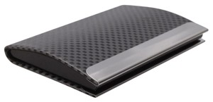 Gray and Black Checkered Metal Business Card Holder
