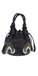 Kenzo Black Leather Studded Bucket Hobo Bag
