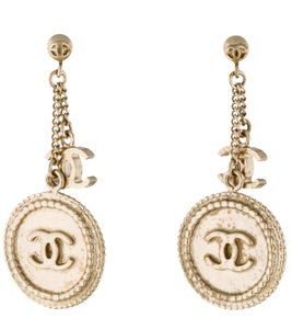 Chanel Gold-tone Chanel interlocing CC charm drop earrings