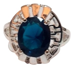 Other New Sterling Silver Filled Blue CZ Cocktail Ring Size 6 J3045