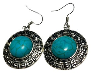 Other New Turquiose Gemstone Silver Tone Earrings J3514