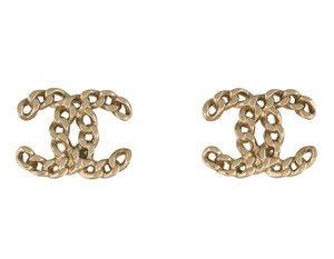 Chanel Gold-tone Chanel interlocing CC charm chain earrings