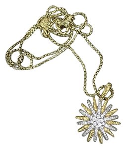 David Yurman 18K Gold Diamond Starburst Pendant and Necklace