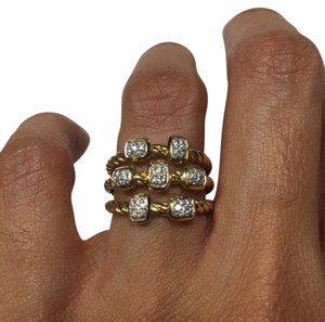 David Yurman David Yurman Solid 18K Gold Diamond Confetti Ring
