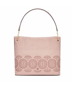 Tory Burch Leather Tote in Light Oak/Ginger Snap