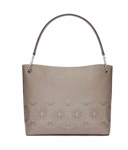Tory Burch Leather Tote in French Gray/Gray