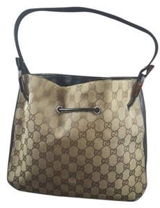 Gucci Vintage Leather Monogram Canvas Hobo Bag