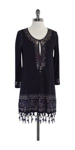 Calypso short dress Navy Sequin Fringe on Tradesy