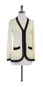 MILLY Cream Black Gold Chain Cardigan