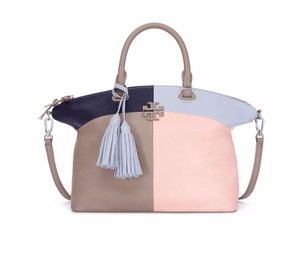 Tory Burch Leather Satchel in French Gray Multi