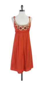 Elie Tahari short dress Orange Embroidered Beaded on Tradesy