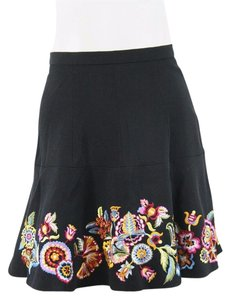 Kenzo Wool Floral Embroidered Flounce Skirt