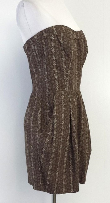 Other short dress Brown & Beige Floral Print Strapless on Tradesy