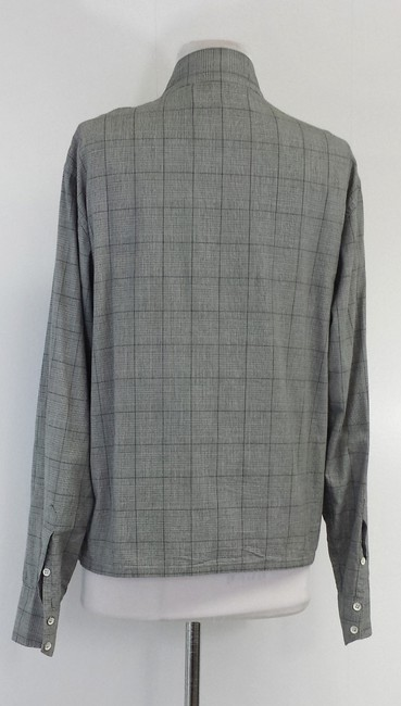 Rag & Bone Checkered Cotton Zip Shirt Button Down Shirt Grey