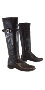 Stuart Weitzman Brown Leather Silver Buckle Boots