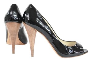 Miu Miu Black Patent Leather Peep Toe Pumps