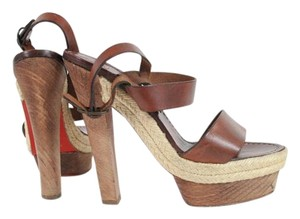 Christian Louboutin Brown Leather Espadrille Platform Sandals