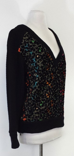 Tracy Reese Color Leopard Print V-neck Sweater