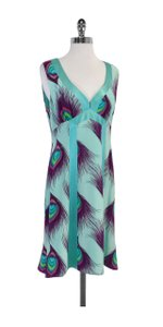 Nanette Lepore short dress Multi Aqua Purple Feather Print Silk on Tradesy